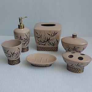 Other - Bathroom accessories 6PC Set Ceramic Tan Natural